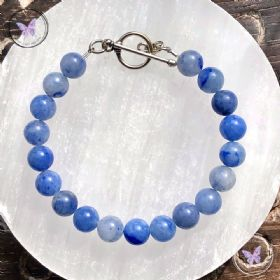 Blue Aventurine Healing Bracelet with Silver Toggle Clasp